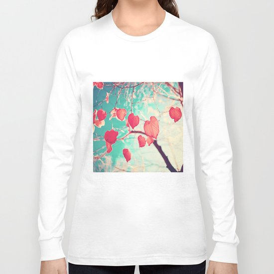 Our hearts are autumn leaves waiting to fall (Pink - Red fall leafs and brilliant retro blue sky) Long Sleeve T-shirt