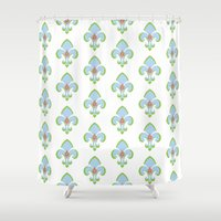 fleur de lis Shower Curtains featuring Fleur de Lis Blue by Drape Studio