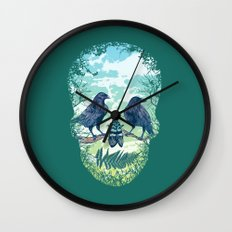 Nature's Skull (Green) Wall Clock