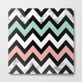 Marble Chevron Pastel Color Pattern Metal Print