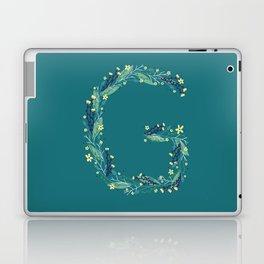 Turquoise flowers alphabet G Laptop & iPad Skin
