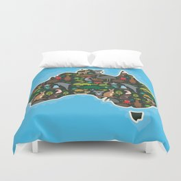 map of Australia. Wombat Echidna Platypus Emu Tasmanian devil Cockatoo kangaroo dingo octopus fish Duvet Cover
