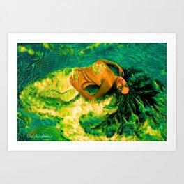 Nude Mermaid white green tail ladykashmir Art Print