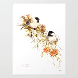 Chickadee bird art, design, chickadees artwork Art Print