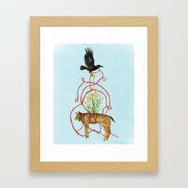 Crow Carries the Bobcat Framed Art Print