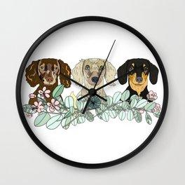 Triple Dachshunds Floral Wall Clock