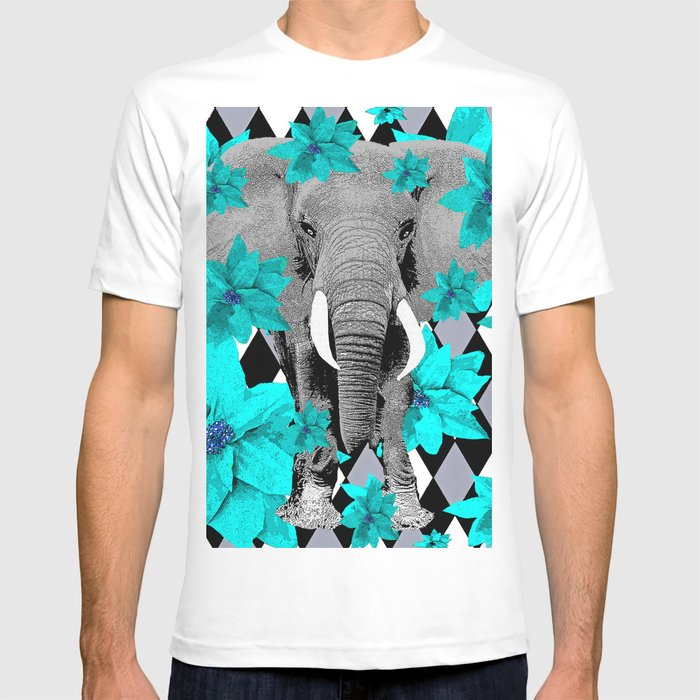 6cdd47127 ELEPHANT and HARLEQUIN BLUE AND GRAY T-shirt by saundramyles