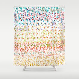 Striped Piled Dots Pattern Shower Curtain