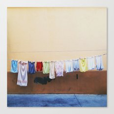 Drying laundry Canvas Print