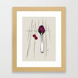 raspberry on spoon by carographic Framed Art Print