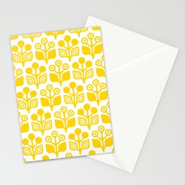 Mid Century Garden Flower Pattern Yellow Stationery Cards