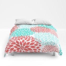 Coral Teal Dahlia Bouquet Comforters