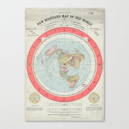 Flat Earth Society Wall Map Canvas Print