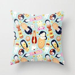 Kokeshi dolls Throw Pillow