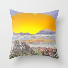 African Sun Family Throw Pillow