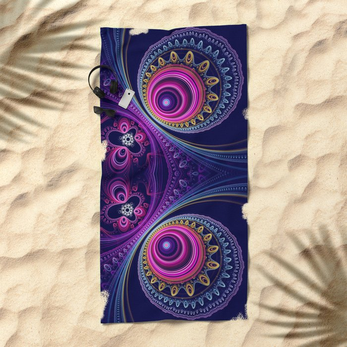 Colourful circles and patterns Beach Towel