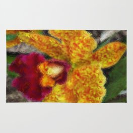 Smeary Painted Orchid Rug