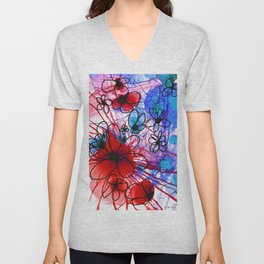 Bold Modern Flower Art - Wild Flowers 3 - Sharon Cummings Unisex V-Neck
