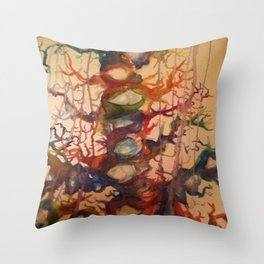Crying Tree Watercolor Painting Throw Pillow