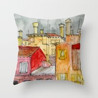 italian Throw Pillows featuring Italian Street by Bunny Noir