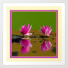 Fuchsia Water Lilies Green Art Art Print
