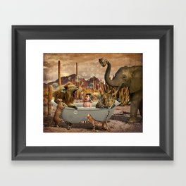 Bathing Baby with Wild Animals Framed Art Print