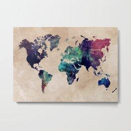 Cold World Map Metal Print