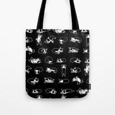 Sleeping Boogie the Boston Terrier (pattern on black) Tote Bag