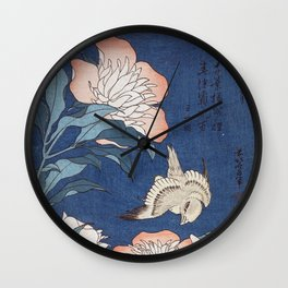 Katsushika Hokusai Peonies and Canary Wall Clock