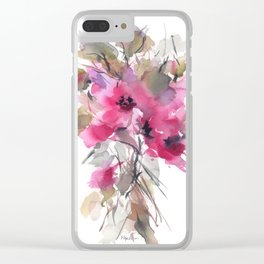 Red Water Blooms Clear iPhone Case