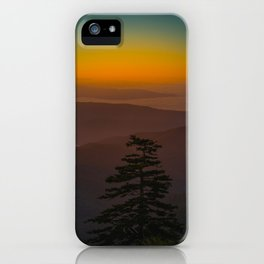 Pretty Pastel Yellow Red Green Sunset With Lone Pine Tree Silhouette iPhone Case