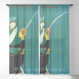 Vintage 1920's Jazz Age Flapper with White Peacock Fashion Poster Sheer Curtain
