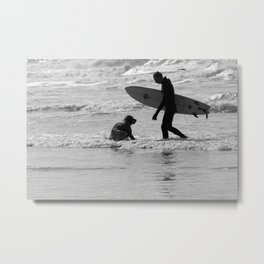 One Surfer And His Dog Metal Print