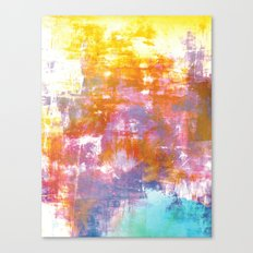 OFF THE GRID 3 Colorful Pastel Neon Purple Rust Yellow Abstract Watercolor Acrylic Textural Painting Canvas Print