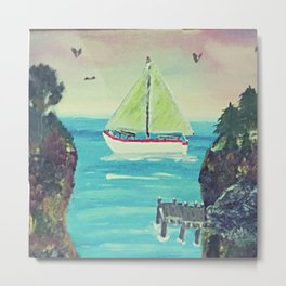 Sailboat in The Cove Metal Print