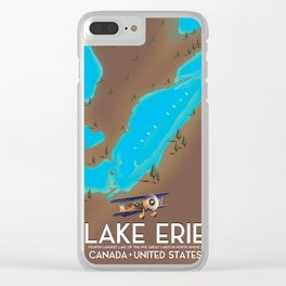 Lake Erie, USA lake Map Clear iPhone Case