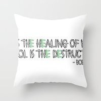 alcohol Throw Pillows featuring HERBS AND ALCOHOL by Jodie's