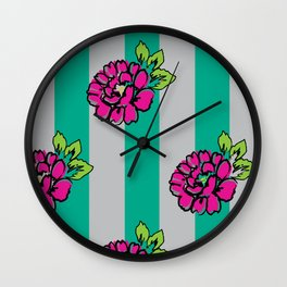 Pop Pink Flowers on Mint Stripe Pattern Wall Clock