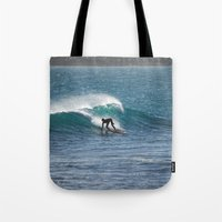 surfer Tote Bags featuring Surfer by MapMaster