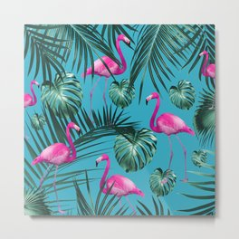 Tropical Flamingo Pattern #4 #tropical #decor #art #society6 Metal Print