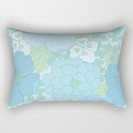 Light Blue Pastel Vintage Floral Pattern Rectangular Pillow