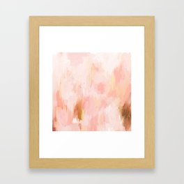 Abstract minimal peach, millennial pink, white and gold painting Framed Art Print