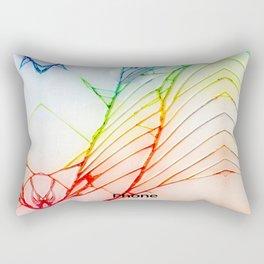 Rainbow Broken Damaged Cracked out back White iphone Rectangular Pillow