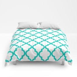 Aqua Moroccan Quatrefoil Pattern Comforters
