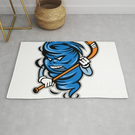 Tornado Ice Hockey Player Mascot Rug