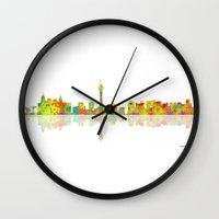 las vegas Wall Clocks featuring Las Vegas by Marlene Watson