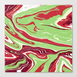 Abstract red & green agate slice Canvas Print