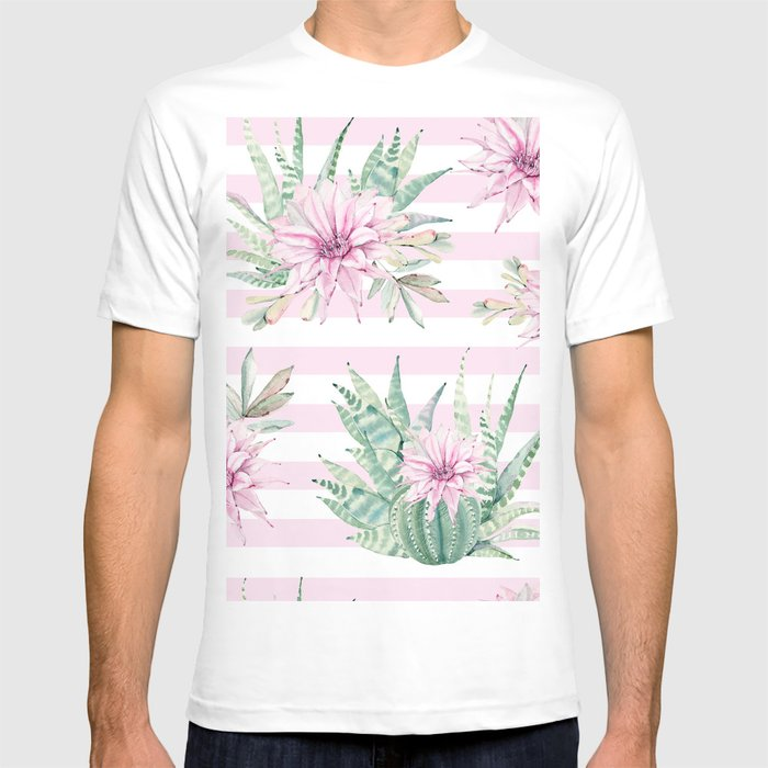 7c4a7574ca5 Rose Stripe Succulents - Pink and Mint Green Cactus Pattern T-shirt ...
