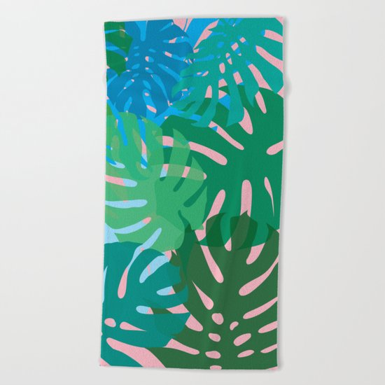 Colorful monstera leaves 3 Beach Towel