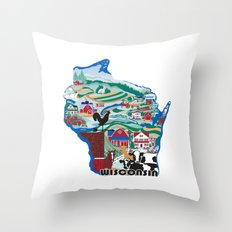 Wisconsin Country Sampler Throw Pillow